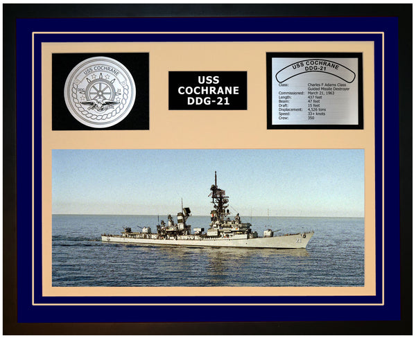 USS COCHRANE DDG-21 Framed Navy Ship Display Blue