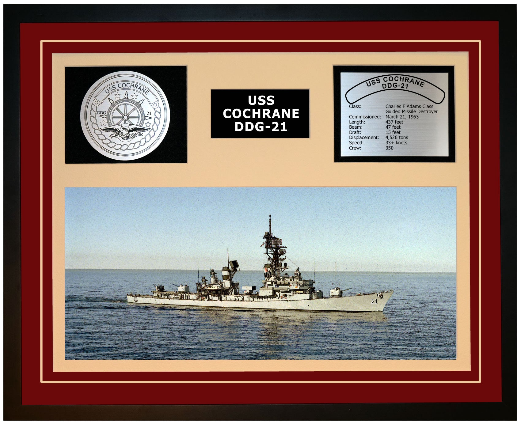 USS COCHRANE DDG-21 Framed Navy Ship Display Burgundy