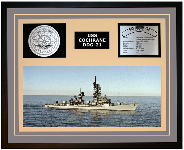 USS COCHRANE DDG-21 Framed Navy Ship Display Grey