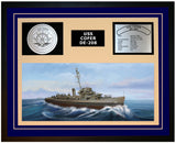 USS COFER DE-208 Framed Navy Ship Display Blue