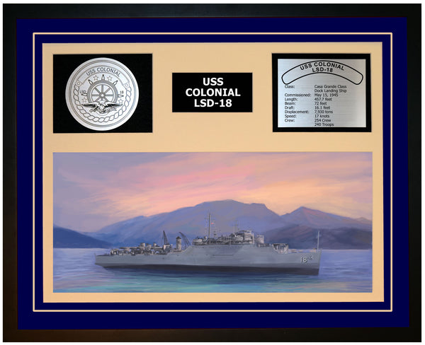 USS COLONIAL LSD-18 Framed Navy Ship Display Blue