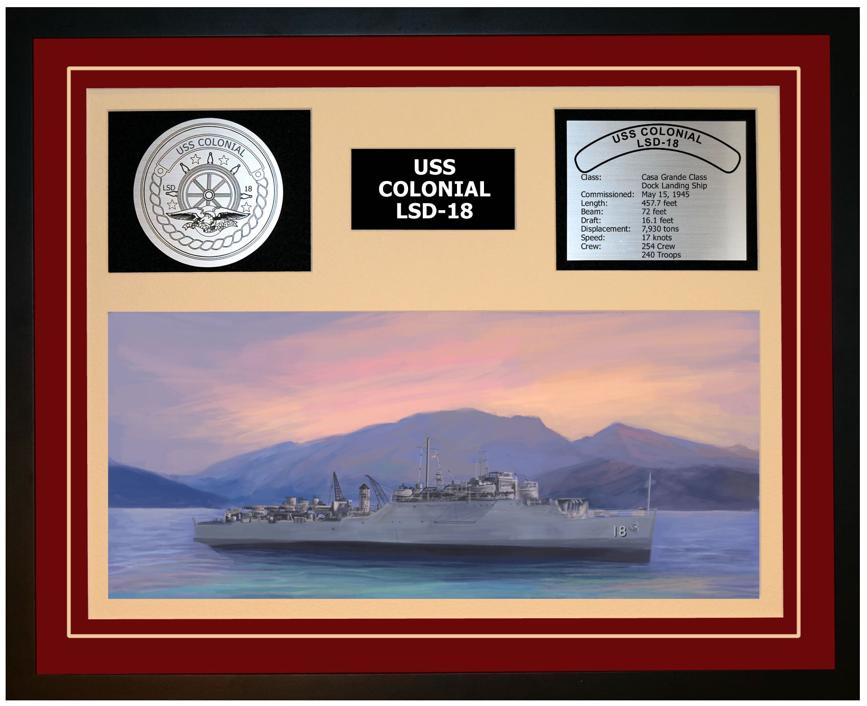 USS COLONIAL LSD-18 Framed Navy Ship Display Burgundy