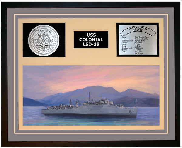 USS COLONIAL LSD-18 Framed Navy Ship Display Grey