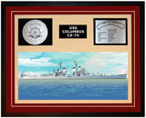 USS COLUMBUS CA-74 Framed Navy Ship Display Burgundy