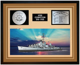 USS COMPTON DD-705 Framed Navy Ship Display Brown