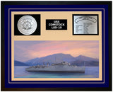 USS COMSTOCK LSD-19 Framed Navy Ship Display Blue