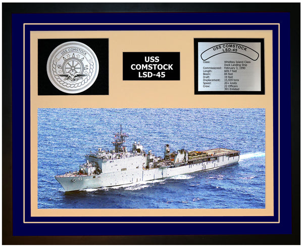 USS COMSTOCK LSD-45 Framed Navy Ship Display Blue