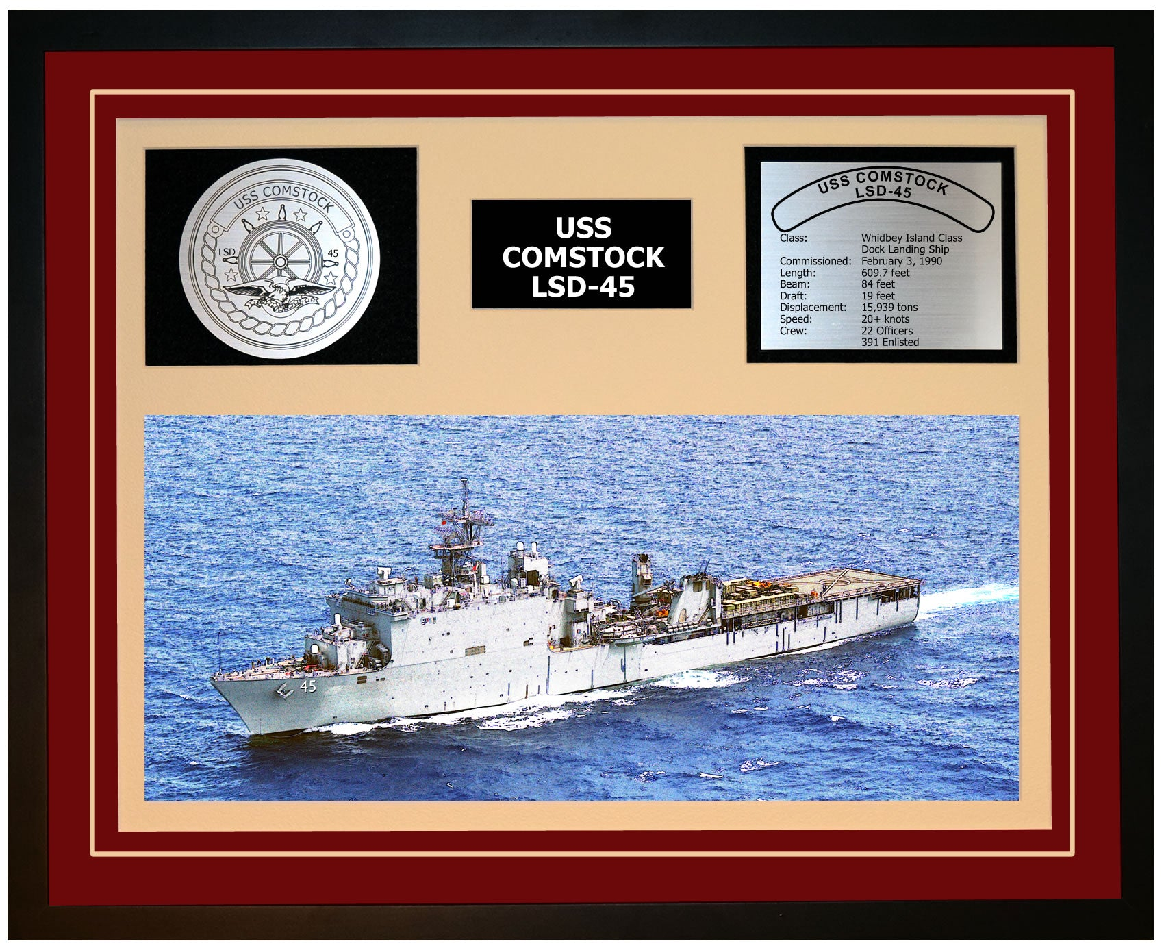 USS COMSTOCK LSD-45 Framed Navy Ship Display Burgundy