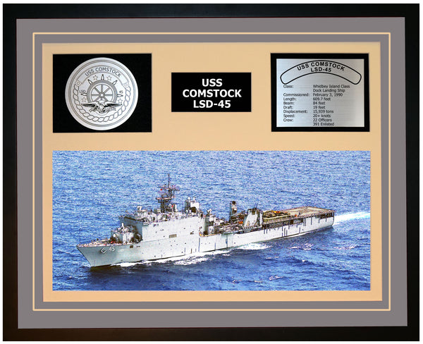 USS COMSTOCK LSD-45 Framed Navy Ship Display Grey