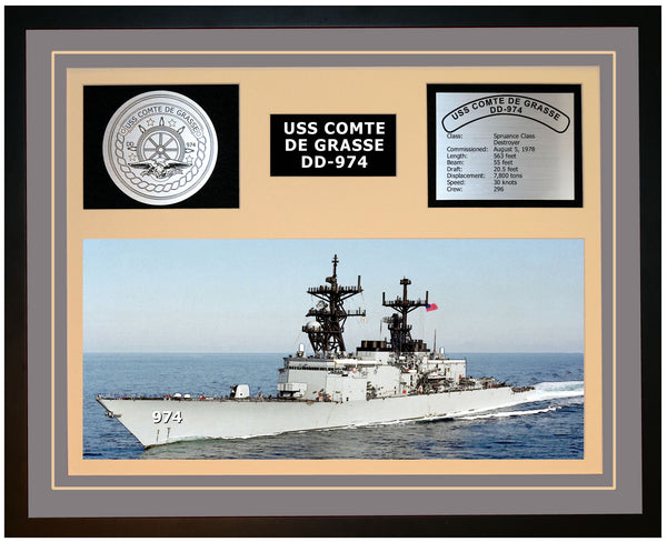 USS COMTE DE GRASSE DD-974 Framed Navy Ship Display Grey