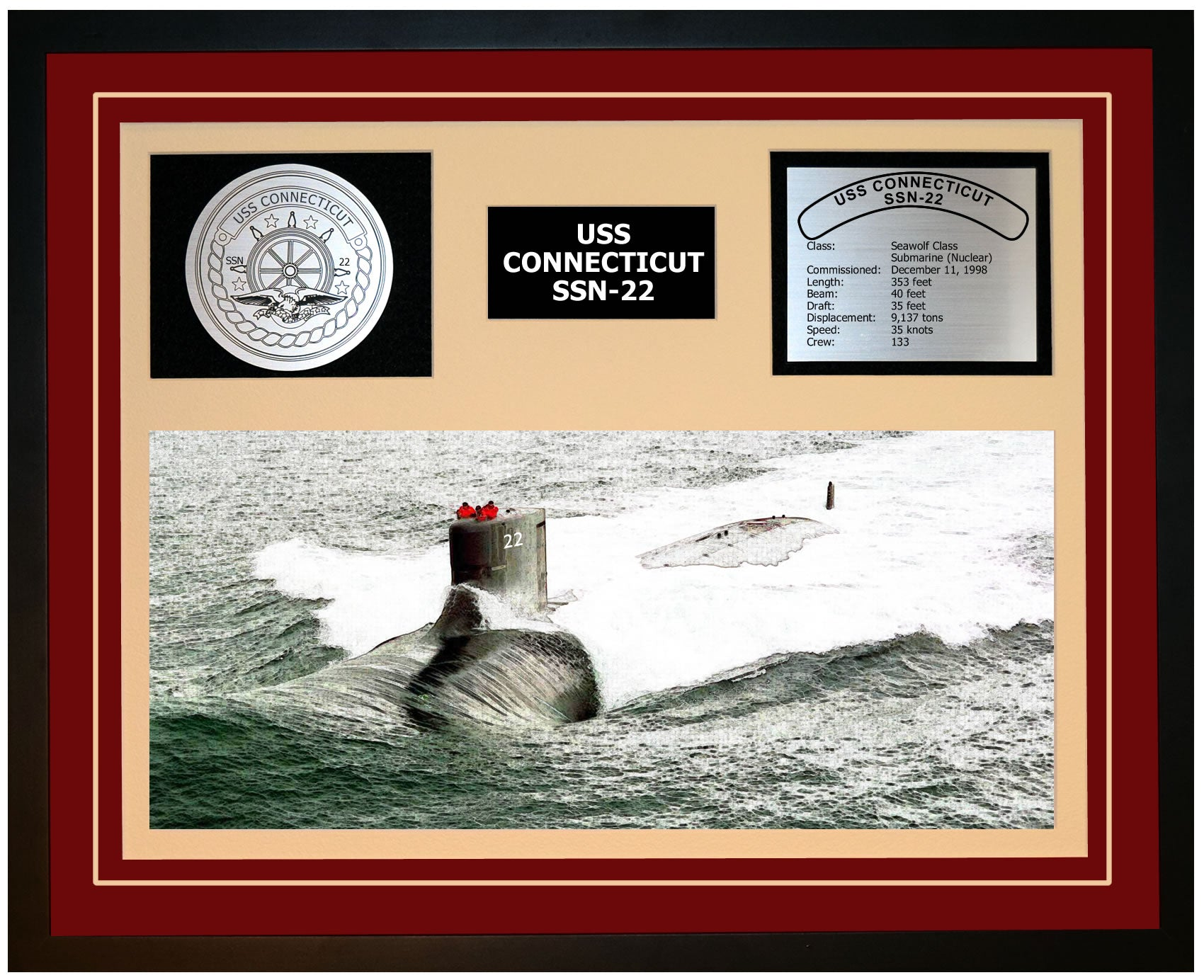 USS CONNECTICUT SSN-22 Framed Navy Ship Display Burgundy