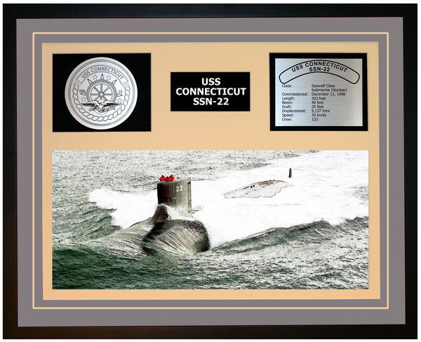 USS CONNECTICUT SSN-22 Framed Navy Ship Display Grey