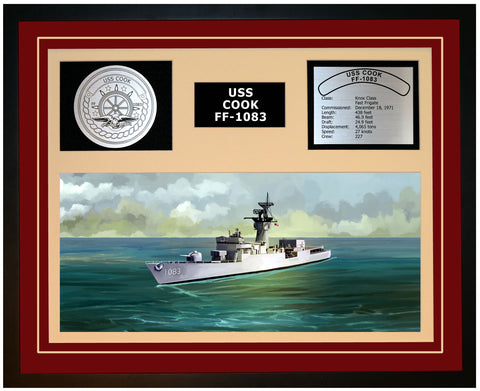 USS COOK FF-1083 Framed Navy Ship Display Burgundy