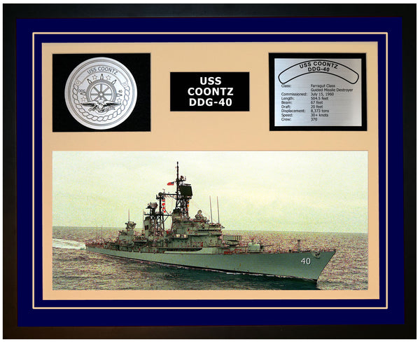 USS COONTZ DDG-40 Framed Navy Ship Display Blue
