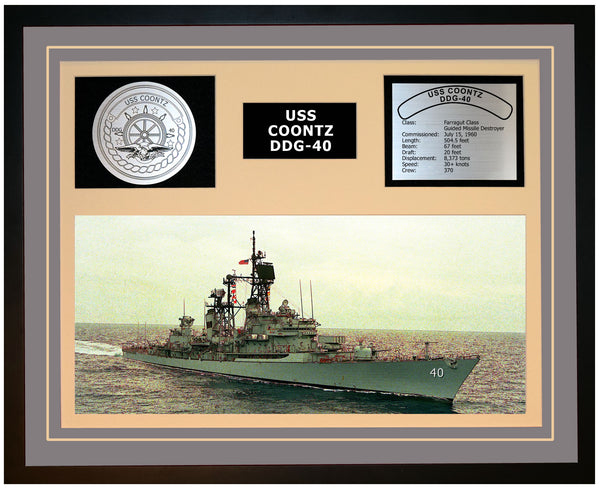 USS COONTZ DDG-40 Framed Navy Ship Display Grey