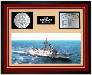 USS COPELAND FFG-25 Framed Navy Ship Display Burgundy