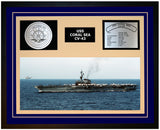 USS CORAL SEA CV-43 Framed Navy Ship Display Blue
