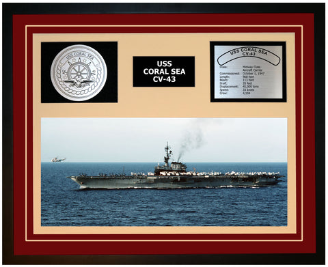USS CORAL SEA CV-43 Framed Navy Ship Display Burgundy