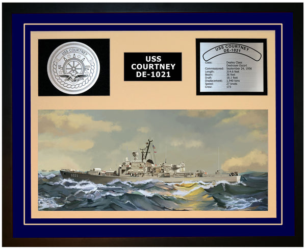USS COURTNEY DE-1021 Framed Navy Ship Display Blue