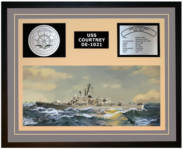 USS COURTNEY DE-1021 Framed Navy Ship Display Grey