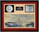 USS CROMWELL DE-1014 Framed Navy Ship Display Burgundy