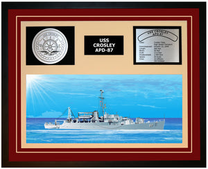 USS CROSLEY APD-87 Framed Navy Ship Display Burgundy