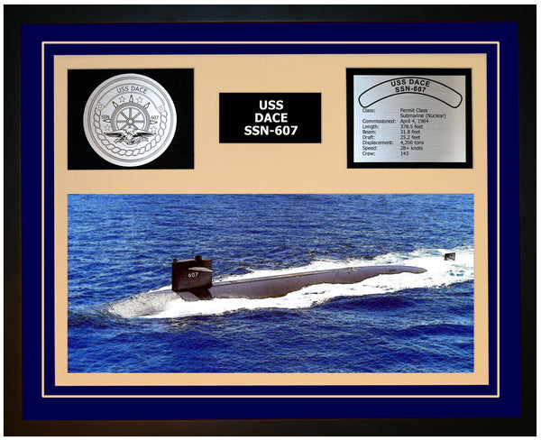 USS DACE SSN-607 Framed Navy Ship Display Blue