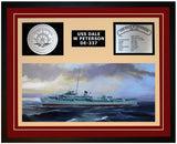 USS DALE W PETERSON DE-337 Framed Navy Ship Display Burgundy