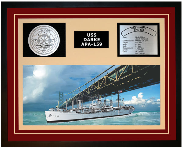 USS DARKE APA-159 Framed Navy Ship Display Burgundy