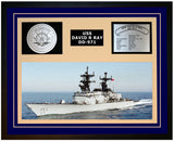 USS DAVID R RAY DD-971 Framed Navy Ship Display Blue