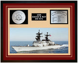 USS DAVID R RAY DD-971 Framed Navy Ship Display Burgundy