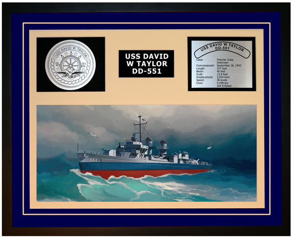 USS DAVID W TAYLOR DD-551 Framed Navy Ship Display Blue