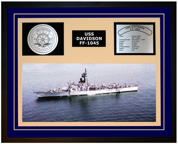 USS DAVIDSON FF-1045 Framed Navy Ship Display Blue