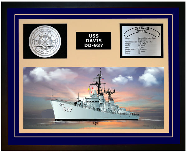 USS DAVIS DD-937 Framed Navy Ship Display Blue