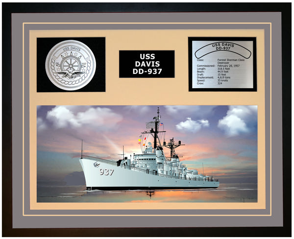 USS DAVIS DD-937 Framed Navy Ship Display Grey
