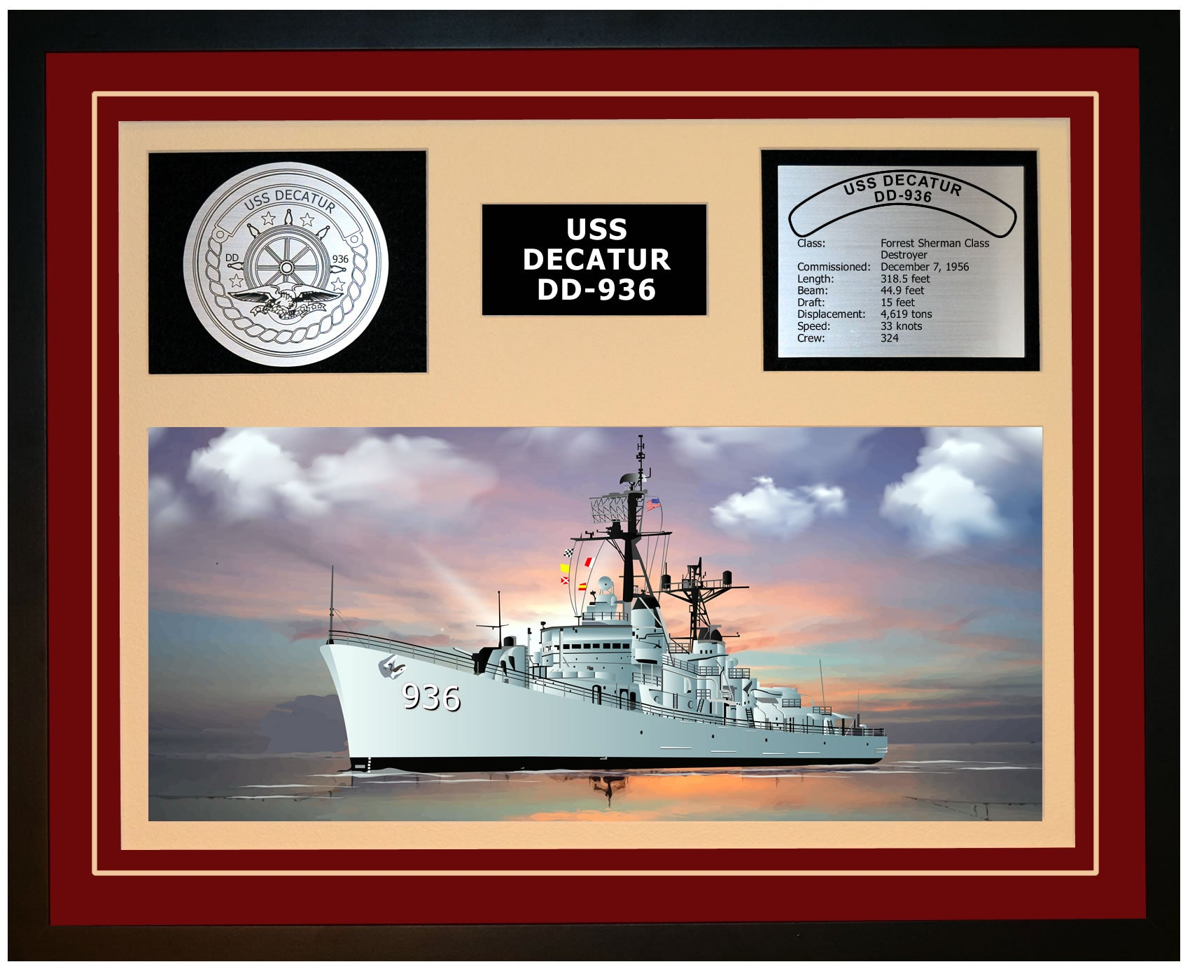 USS DECATUR DD-936 Framed Navy Ship Display Burgundy