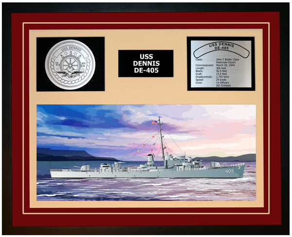 USS DENNIS DE-405 Framed Navy Ship Display Burgundy