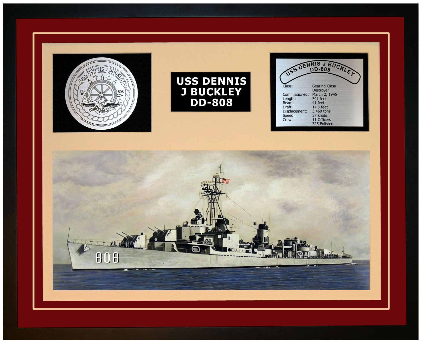 USS DENNIS J BUCKLEY DD-808 Framed Navy Ship Display Burgundy