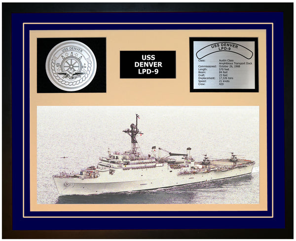 USS DENVER LPD-9 Framed Navy Ship Display Blue