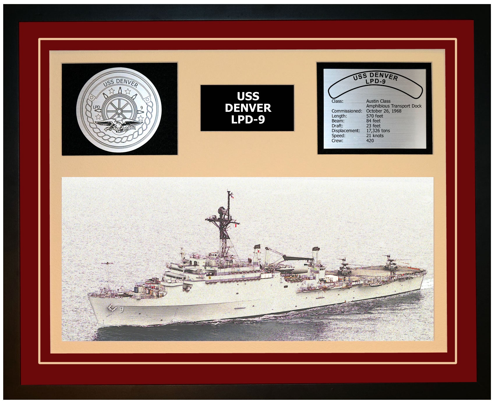 USS DENVER LPD-9 Framed Navy Ship Display Burgundy