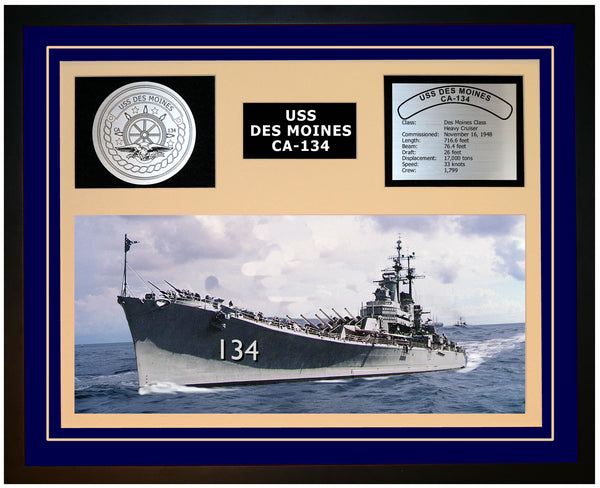 USS DES MOINES CA-134 Framed Navy Ship Display Blue
