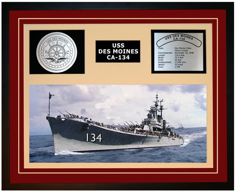USS DES MOINES CA-134 Framed Navy Ship Display Burgundy
