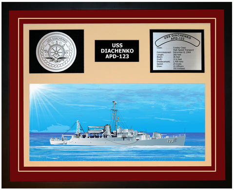 USS DIACHENKO APD-123 Framed Navy Ship Display Burgundy