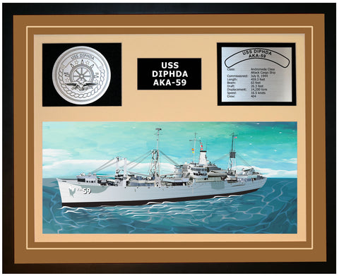 USS DIPHDA AKA-59 Framed Navy Ship Display Brown