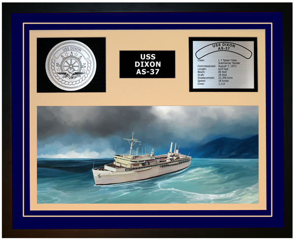 USS DIXON AS-37 Framed Navy Ship Display Blue