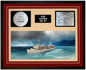 USS DIXON AS-37 Framed Navy Ship Display Burgundy