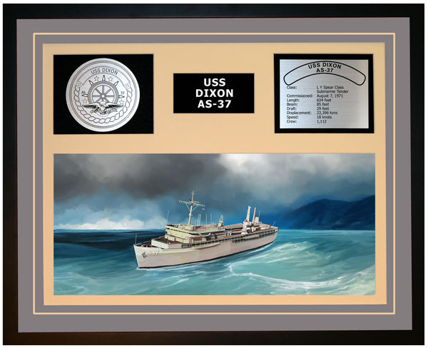 USS DIXON AS-37 Framed Navy Ship Display Grey