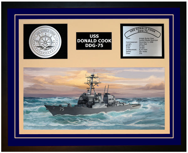 USS DONALD COOK DDG-75 Framed Navy Ship Display Blue