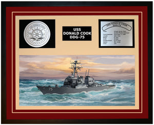 USS DONALD COOK DDG-75 Framed Navy Ship Display Burgundy