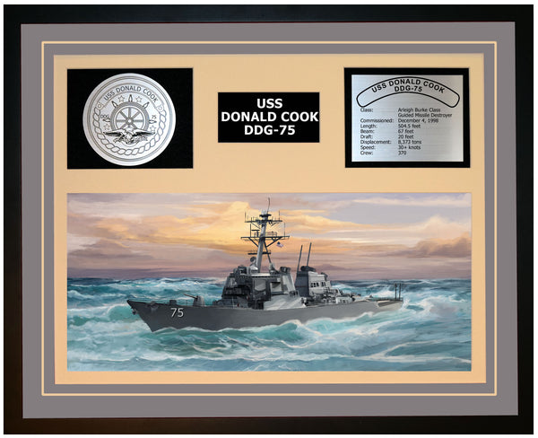 USS DONALD COOK DDG-75 Framed Navy Ship Display Grey